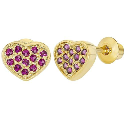 1834ed287ccd In Season Jewelry 18k Chapado en Oro Circonita Rosa Aretes de Corazón con Cierre  de Rosca