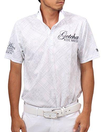 [ガッチャ ゴルフ] ポロシャツ メンズ 吸水速乾 ネイティヴ 総柄 ポロ 182GG1224 ホワイト XLサイズ