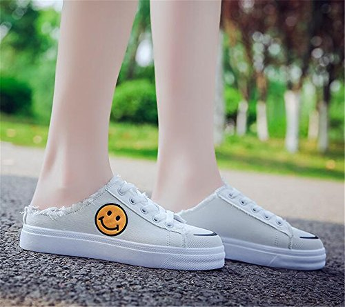 Platform Running Slip on Lace up Cut Shoes Low Womens White Solid Casual Canvas Sneaker pqzPfWIw