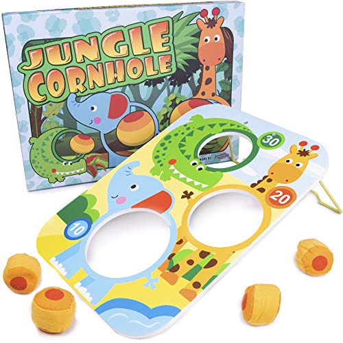 Jungle Cornhole Bean Bag Tossing Game | Classic Children's Zoo Animal Toss Across Set for Indoor or Outdoor Play | Teach Kids Counting and Gross Motor Skills | Includes Board and 4 Throwing Bags (Bean Animal Toss Bag)