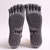 AUDAZIC Full Grip five toe covered Non-slip Yoga Socks Winter Warm Cotton Socks Sports Pilates Massage Socks 2 pairs (Medium, Grey( 2 pairs))