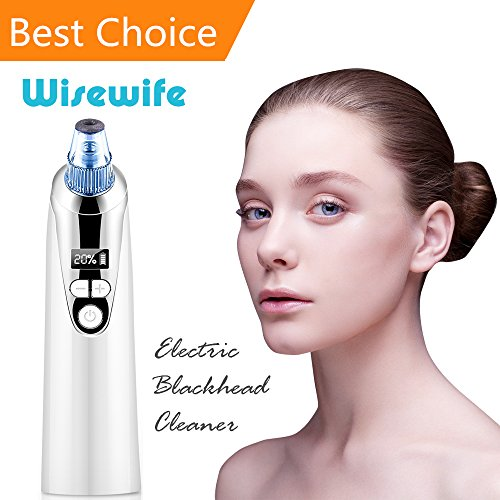 Blackhead Remover Vacuum Suction - Electric Facial Skin Pore Cleaner Acne Comedone Suction with 4 Microcrystalline Head USB Rechargeable Extractor Tool Eliminator Microdermabrasion Exfoliating Comedo