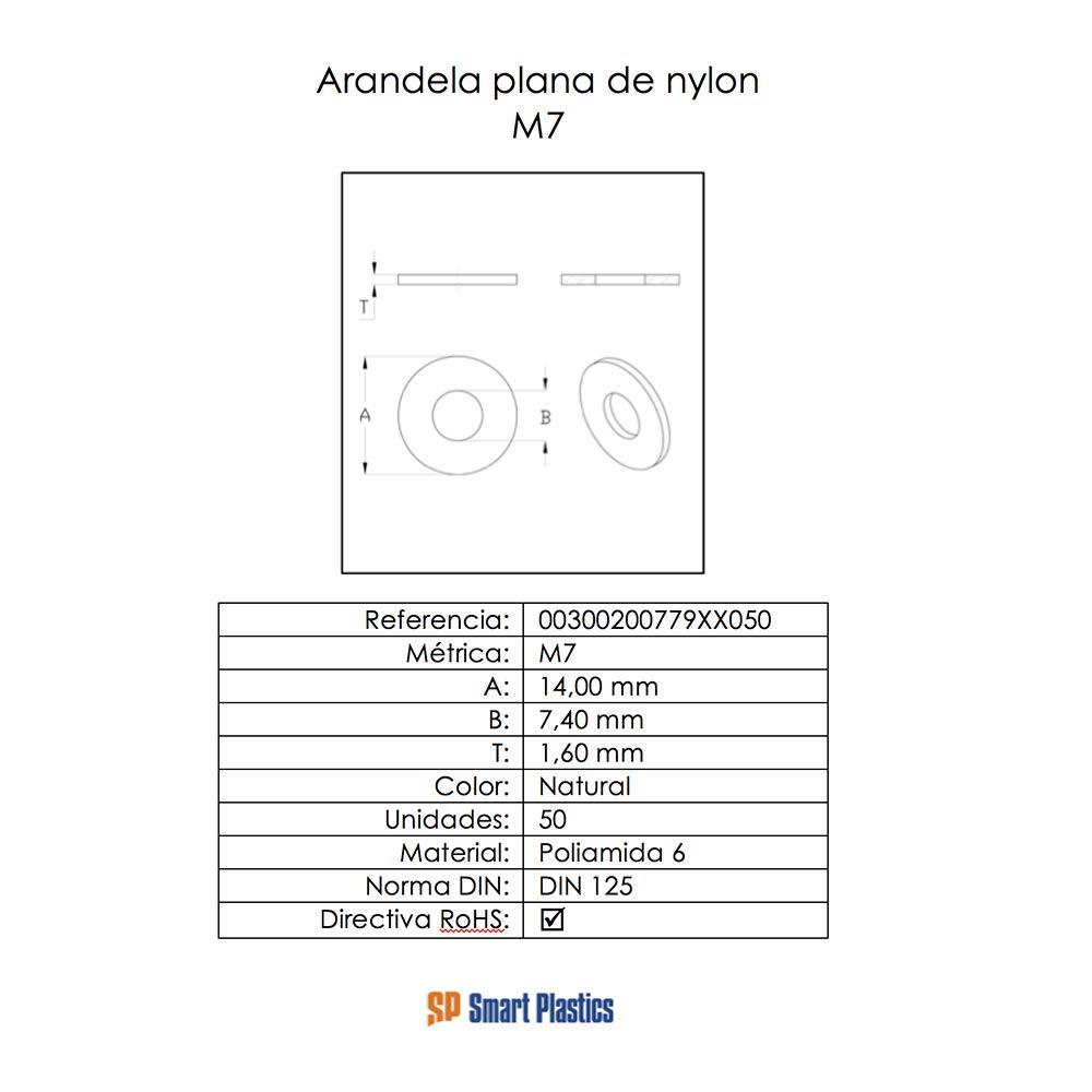 50 unidades m/étrica M14 Arandelas planas de nylon