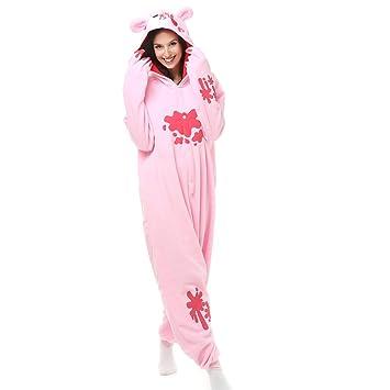 f1e44d3dc Adult Pink Gloomy Bear Onesie Polar Fleece Pajamas Cartoon Sleepwear Animal  Halloween Cosplay Costume Unisex (L (Height 5'6-5'10)): Amazon.co.uk: Toys  & ...