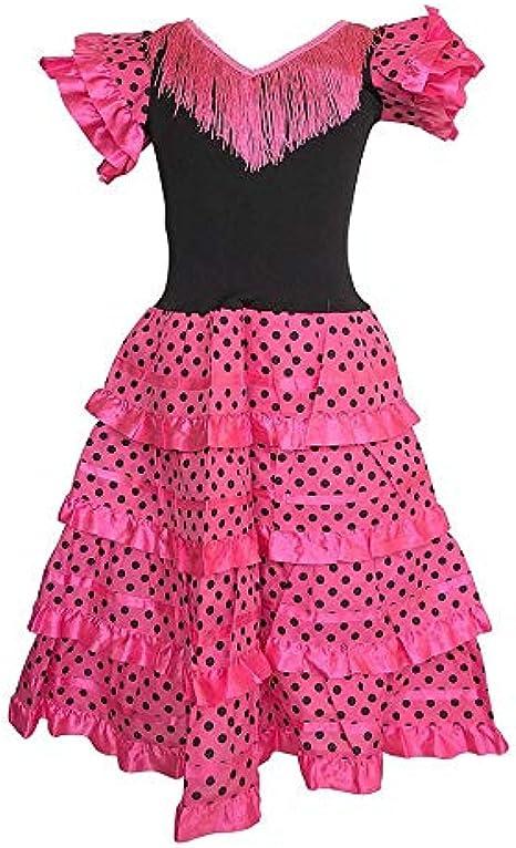 Girls Spanish Dress Flamenco White Pink Fancy Dress Costume Book World Day NEW