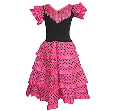 163456bf6bd9a La Senorita Spanish Flamenco Dress - Girls / Kids - Pink / Black: Amazon.co. uk: Clothing