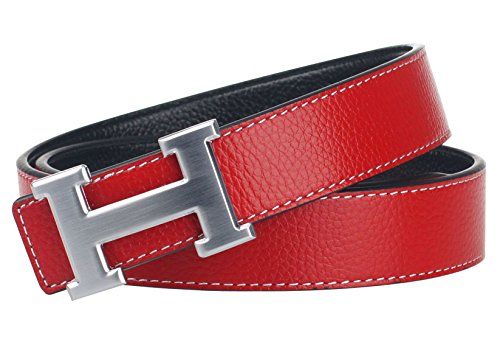 G-FOR Women H Reversible Leather Belt With Removable Buckle 38inch Red