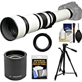 Vivitar 650-1300mm f/8-16 Telephoto Lens (White) (T Mount) 2X Teleconverter (=2600mm) + Tripod + Kit Canon EOS 6D, 70D, 7D, 5DS, 5D Mark II III, Rebel T5, T5i, T6i, T6s, SL1 Camera