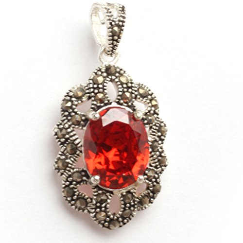18x34mm Oval Manmade red coral beads marcasite tibetan silver pendant 18x3