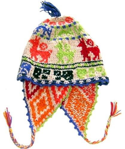 Alpakaandmore Womens Traditional Peruvian Chullo Hat Handmade Alpaca Wool Green (One Size)