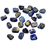 Gemstone Runes with Engraved Lettering and Pouch (Lapis Lazuli)