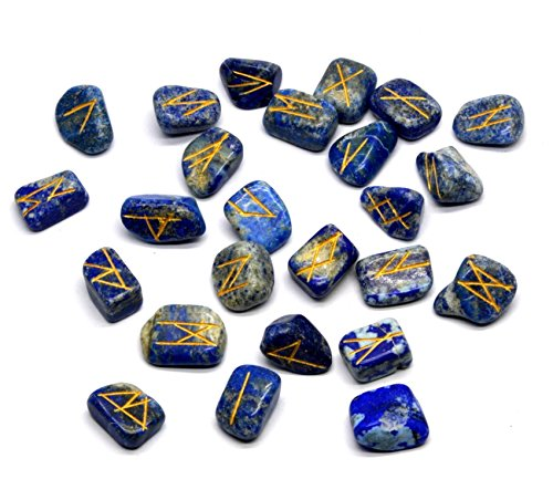 (Healing Crystals India Handcrafted Meditation Reiki Gemstone Runes w/Engraved Lettering and Pouch, Set of 25 (Lapis Lazuli))