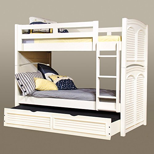 (American Woodcrafters Cottage Traditions Twin over Twin Bunk Bed - Eggshell White)