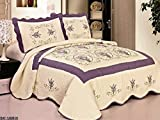 quilts king size purple - 3pcs High Quality Fully Quilted Embroidery Quilts Bedspread Bed Coverlets Cover Set , Queen King (Beige/Purple)