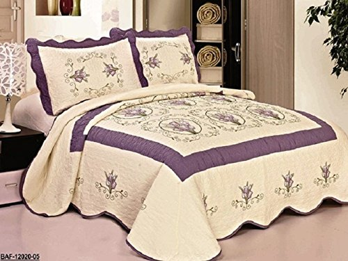 Bedspread Bed Coverlets Cover Set , Queen King (Beige/Purple)