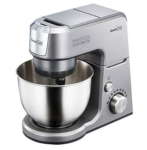 Geek Chef Mini 4-in-1 Stand Mixer: Multi-function, 2.6 Quart Stainless Steel Bowl, 7 Speeds with pulse, Die-cast Tilt Head. Includes Pouring Shield, Beater, Whisk and Dough Hook (Silver). For Sale