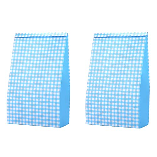 Small Decorative Grocery Bags Blue Colored 3 1/2 x 2 1/6 x 7 inch, Grid Recycling Paper for Candy Lunch Gifts Bread Popcorn Food Cookies Party Favor Baby Shower, Pack -