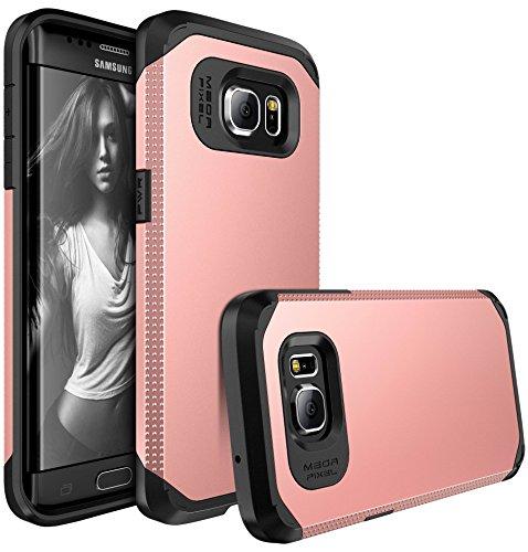 Slim Rose (Galaxy S7 Edge Case, E LV S7 Edge Case (SHOCK PROOF DEFENDER) Slim Case Cover - IMPACT RESISTANT Armor Hybrid Protection for Samsung Galaxy S7 Edge - [ROSE GOLD / BLACK])