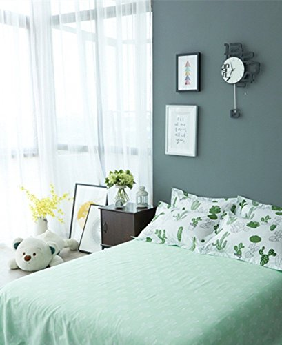VClife Queen Floral Cactus Print Bed Sheet with Deep Pocket, 100% Cotton 1 Piece Green Plant Fitted Sheet for Boy Girl Woman Man Teens, Wrinkle, Fade, Stain Resistant, Hypoallergenic (Style 4, Queen)
