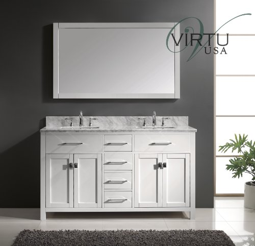 Virtu USA MD-2060-WMSQ-WH Caroline 60-Inch Bathroom Vanity with Double Square Sinks in White and Italian Carrera Marble