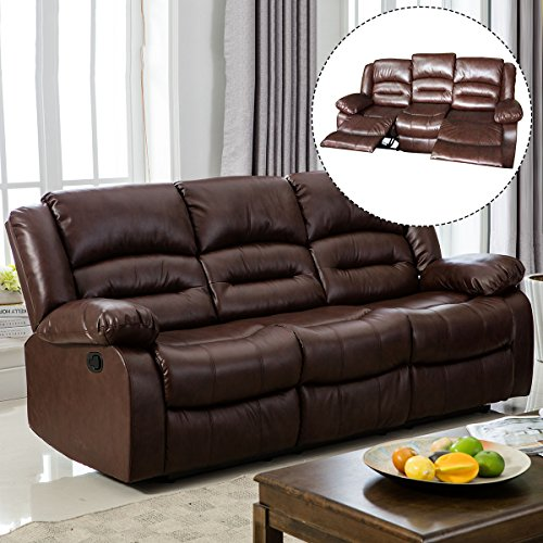 Giantex 3Pc Black Motion Sofa Loveseat Recliner Set Living Room Bonded Leather Furniture (Three Seat, Espresso)