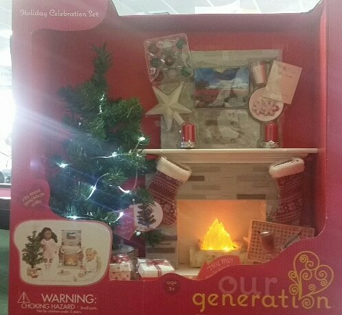 """Our Generation Holiday Accessory Set for 18"""" Dolls - Includes Lighted Tree and Fireplace"""