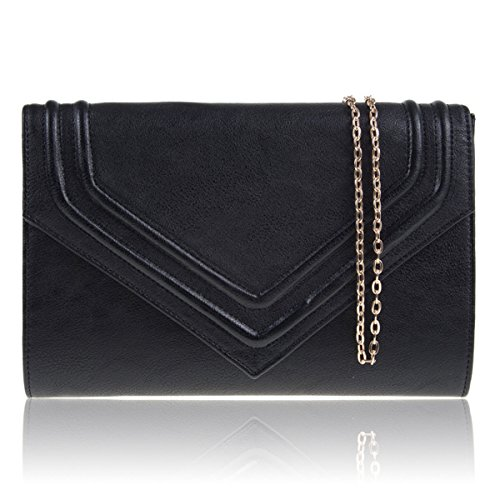 Evening Women Ladies Black Clutch London Flap Handbags Designer Bridal Faux Leather Bag Xardi Party Onv4Iqq