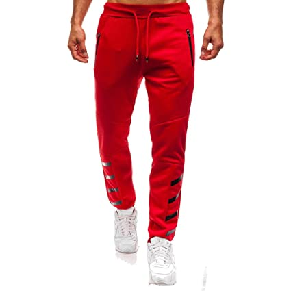 LuckyGirls Pantalón Chándal Hombre Pantalones Rayas Bolsillos con  Cremallera Ropa Deportiva Jogger Pants (Rojo be60551c52e1