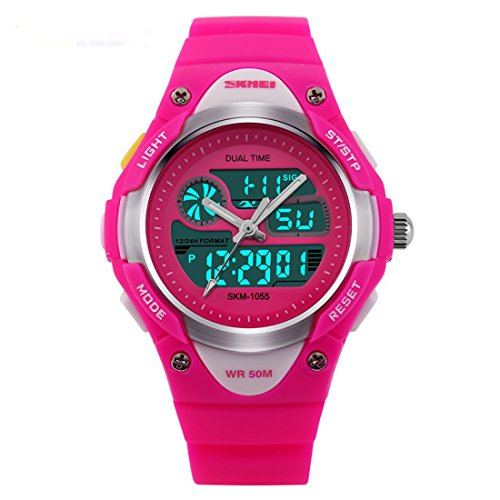 Price comparison product image GRyiyi Kids Sport Watches 50M Waterproof Three-Hand Digital Watch for Boys and Girls Led Watch,Rose Red