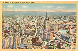 1940s Vintage Postcard - Aerial View of Downtown Area - Cleveland Ohio