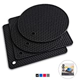 Q's INN Silicone Trivet Mats | Hot Pot Holders | Drying Mat. Our 7 in 1 Multi-Purpose Kitchen Tool is Heat Resistant to 440°F, Non-slip,durable, flexible easy to wash and dry and Contains 4 pcs.