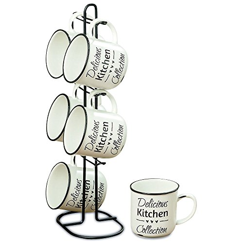 The Farmers Market DELICIOUS KITCHEN COLLECTION Mugs, Set of 6, Plus Metal Stand, Triple Heart Graphic, Vintage Word Art Text, White Glaze With Black Accents, 14 Inches Tall, By Whole House Worlds ()