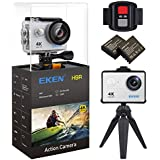 EKEN H9R Action Camera 4K Wifi Waterproof Sports Camera Full HD 4K 25fps 2.7K 30fps 1080P 60fps 720P 120fps Video Camera 12MP Photo and 170 Wide Angle Lens includes 11 Mountings Kit 2 Batteries Silver