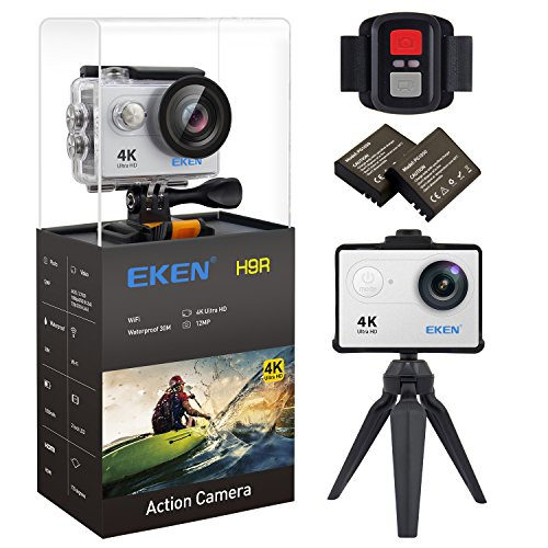 Mc 30 Remote (EKEN H9R Action Camera 4K Wifi Waterproof Sports Camera Full HD 4K 25fps 2.7K 30fps 1080P 60fps 720P 120fps Video Camera 12MP Photo and 170 Wide Angle Lens includes 11 Mountings Kit 2 Batteries Silver)