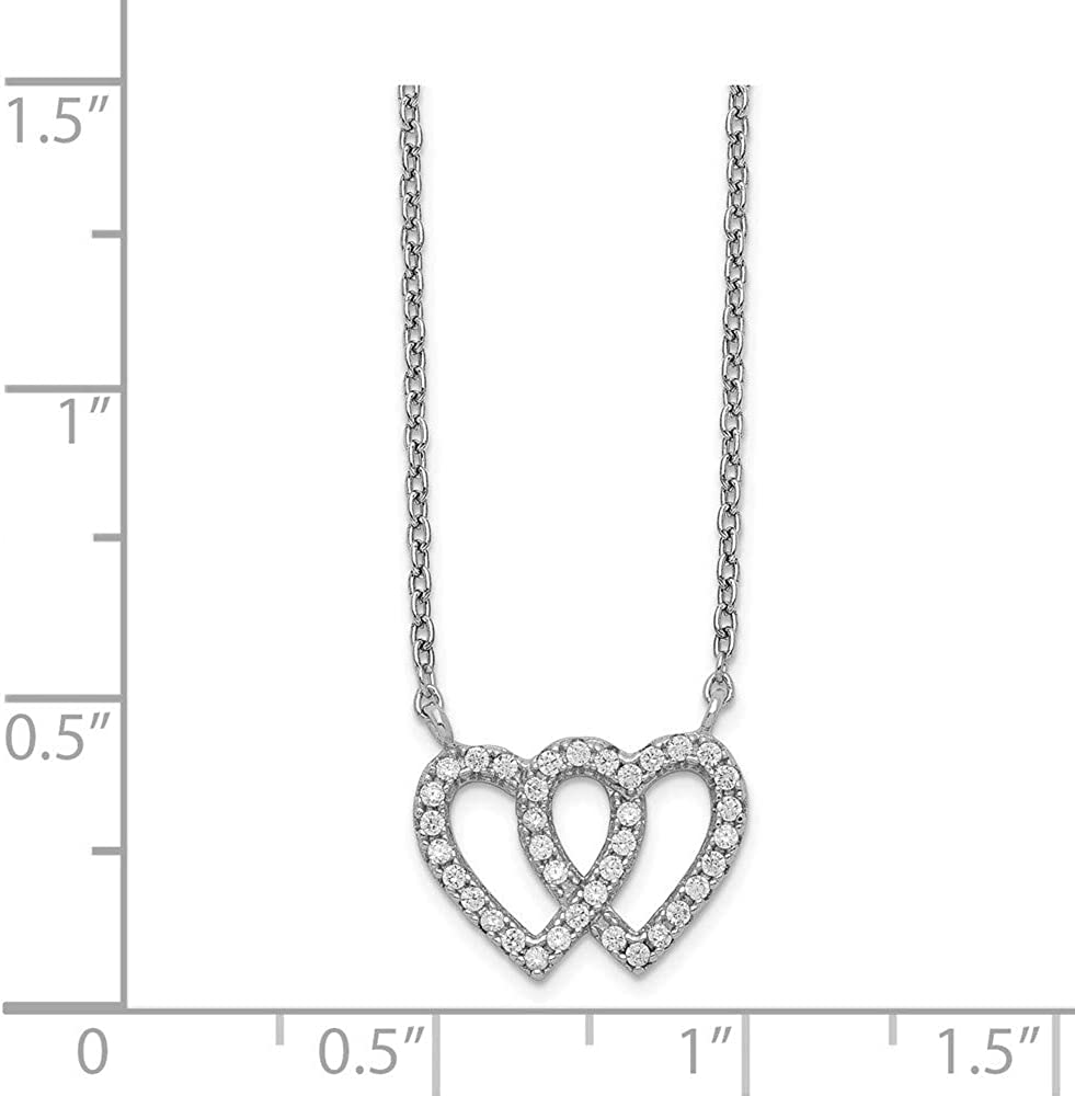 925 Sterling Silver 2 Heart Cubic Zirconia Cz 1in Extension Chain Necklace Pendant Charm Love Fine Jewelry For Women Gifts For Her