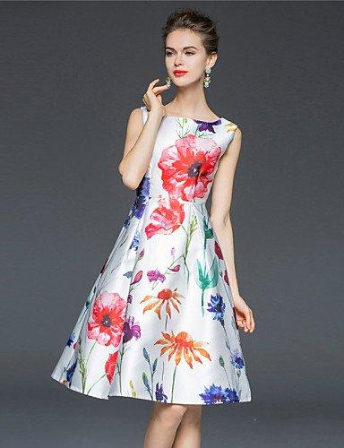 PU&PU Robe Aux femmes Gaine / Patineuse Vintage / Simple,Fleur Col Arrondi Mi-long Polyester , white-xl , white-xl