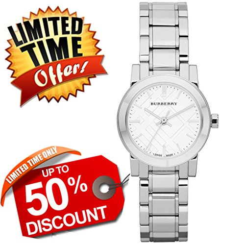 Burberry The City SWISS LUXURY Round Stainless Steel 26mm Silver Dial Women Watch BU9200