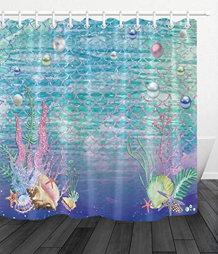 youyoutang Waterproof Fabric Shower Curtain Undersea Fish Scale Mermaid Starfish Shell 12 Shower Hooks 70.8X70.8 Inch Home Decoration Bathroom Accessories