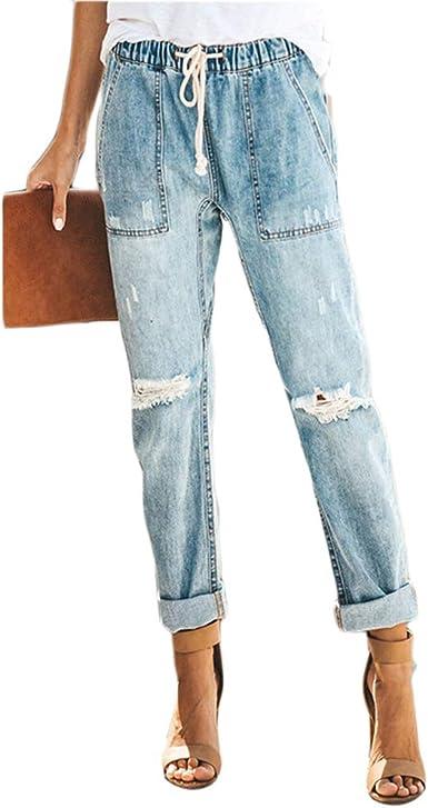 Ai Moichien Pantalones De Mezclilla De Pierna Recta Para Mujer Pantalones De Cintura Alta Sin Mangas Con Flecos Pantalones Modernos Desgastados Amazon Es Ropa Y Accesorios
