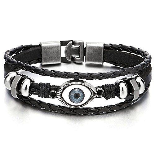 3 Eye Leather (Mens Womens Three-row Leather Black Evil Eye Beads Charms Bracelet Wristband Wrap Bracelet)