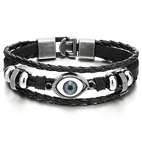 Mens Womens Three-row Leather Black Evil Eye Beads Charms Bracelet Wristband Wrap Bracelet (3 Eye Leather)