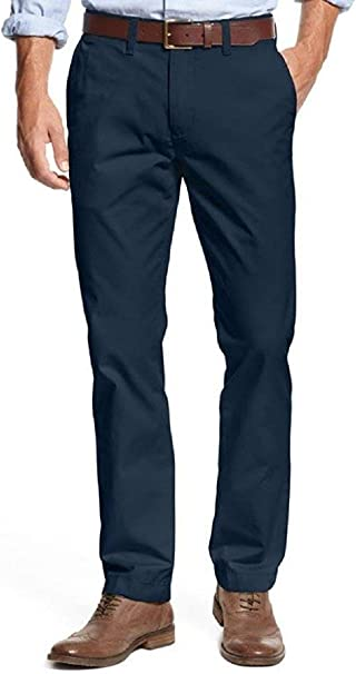 Tommy Hilfiger Men/'s Tailored Fit Flat Front Chino Pants Incense Khaki 36 X 34