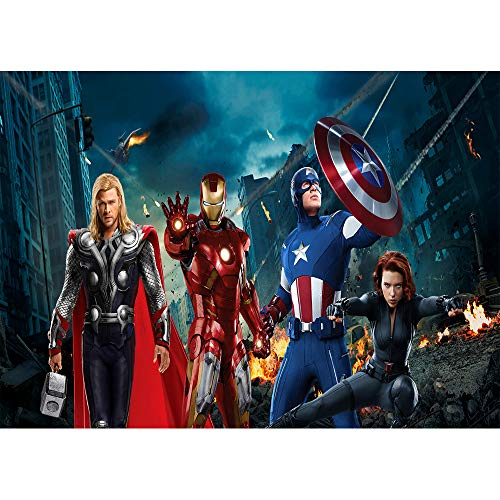 Price comparison product image Photo Background 7x5 Avengers Endgame Backdrop Birthday 7x5 Destroyed City Captain America Photography Backdrop for Party Seamless Vinyl Backgrounds Backdrops for Kids