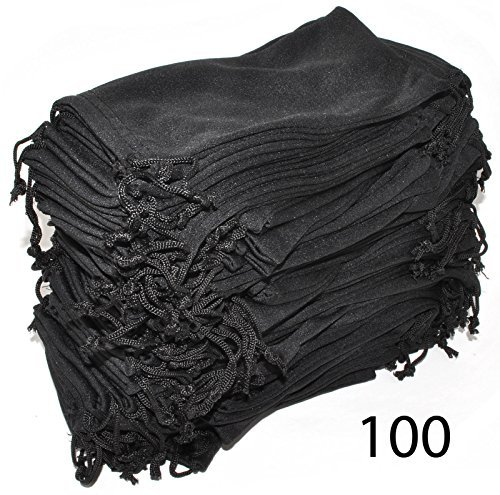 (Wholesale Glasses Pouches Cleaning Case Bag Black 100 PCS)