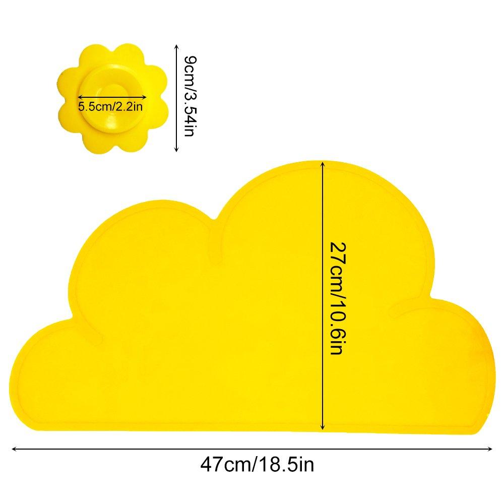 Amarillo BITEYI Salvamantel,Silicona Mantel Mat Mantel Individual Estera de tabla Para Beb/é y Ni/ño,Forma de Nube,Lavable,Antideslizante