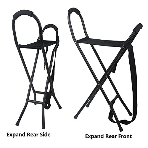 Cane Seat Folding 300 lbs Capacity Heavy Duty Portable Fishing Rest Stool Travel Walking Stick Outside Activities Aid for Elder Parents Gift by M-GYG