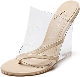0988ba9f4d2c MACKIN J 405-2 Women s TPU Lucite Clear Wedge Heel Open Toe Slip On Mule
