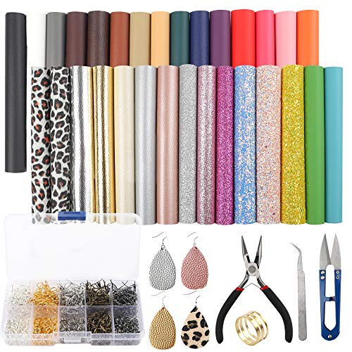 [해외]SGHUO 30피스 가죽 귀걸이 제작 키트에는 4가지 종류의 인조 가죽 시트와 도구를 포함합니다. 공예 제작 용품 / SGHUO 30pcs Leather Earring Making Kit Include 4 Kinds of Faux Leather Sheet and Tools for Earrings Craft Making Supplies