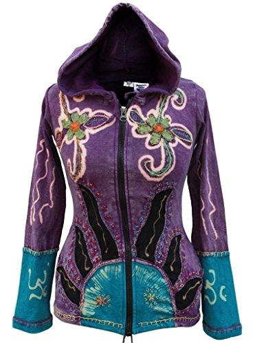Cappuccio Sole Fiamme Hippie Giacca Fashion Purple Donna Gotico Shopoholic Ewqt60Hp