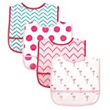 Baby : Luvable Friends 4 Piece Waterproof Bibs with Crumb Catcher, Flamingos